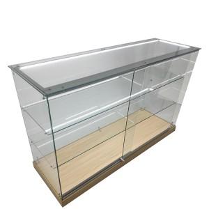 Glass Display Case Retail With 2 Adjustable Shelf,Led Strip Light | OYE