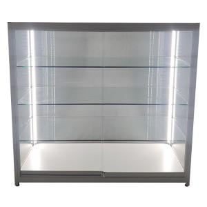 Custom retail display cases with Vertical LED strips opposite door side  |  OYE