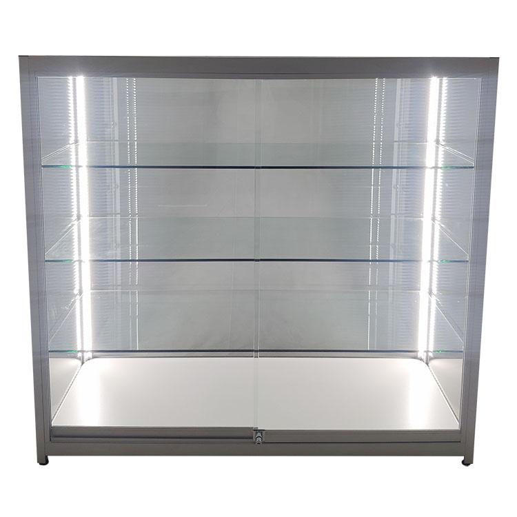 Custom retail display cases with Vertical LED strips opposite door side    OYE