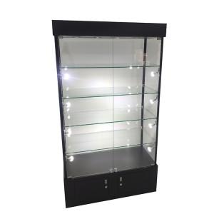 Glass trophy display case with 4 adjustable shelves,led light  |  OYE