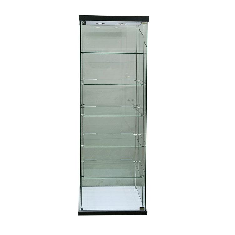 Single trophy display case with 2 led light,5 adjustable shelves    OYEB